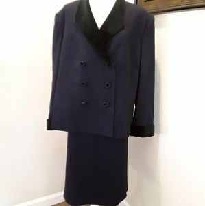 KASPER ASL 2pc black 100% wool skirt jacket sz 22